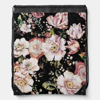 shabby chic preppy girly vintage black floral drawstring bag