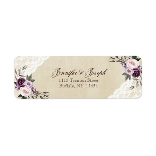 Shabby Chic Purple Floral Lace Wedding Return Address Label