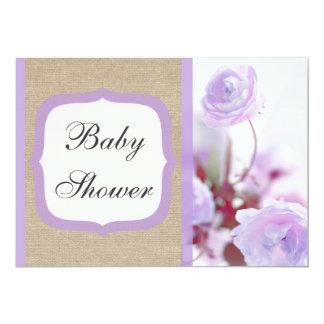 Shabby Chic Purple Peony Burlap Baby Shower 5x7 Paper Invitation Card
