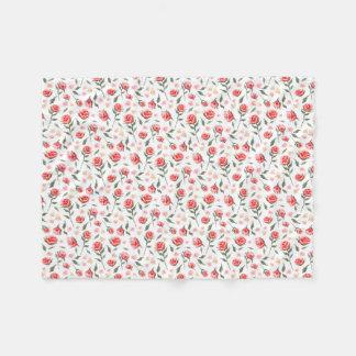 Shabby Chic Red Roses Pretty Fleece Blanket