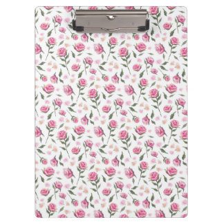 Shabby Chic Romantic Pink Roses Pattern Clipboard