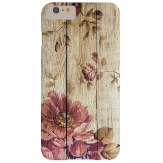 Shabby Chic Romantic Roses on Wooden Wall Barely There iPhone 6 Plus Case