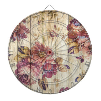 Shabby Chic Romantic Roses on Wooden Wall Dartboard