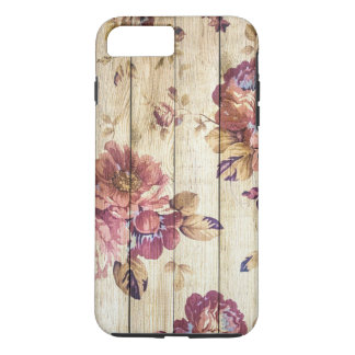 Shabby Chic Romantic Roses on Wooden Wall iPhone 8 Plus/7 Plus Case