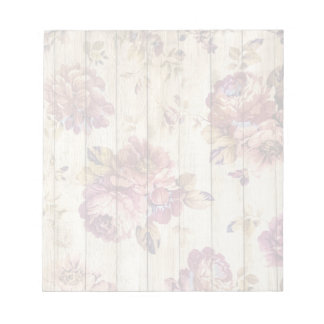Shabby Chic Romantic Roses on Wooden Wall Notepads