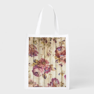 Shabby Chic Romantic Roses on Wooden Wall Reusable Grocery Bag