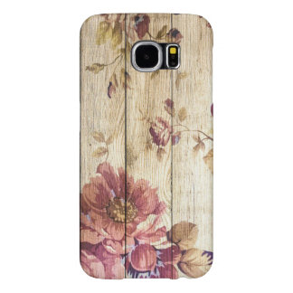 Shabby Chic Romantic Roses on Wooden Wall Samsung Galaxy S6 Cases