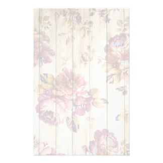 Shabby Chic Romantic Roses on Wooden Wall Stationery Paper