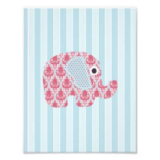Shabby Chic Rose Blue Damask Elephant, Blue Stripe Photographic Print