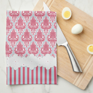 Shabby Chic Rose & Blue Damask & Stripes Tea Towel