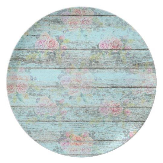 Shabby Chic Rose Flower Wood Blue Vintage Melamine