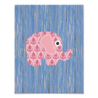Shabby Chic Rose Pink Damask Elephant, Blue Wood Art Photo