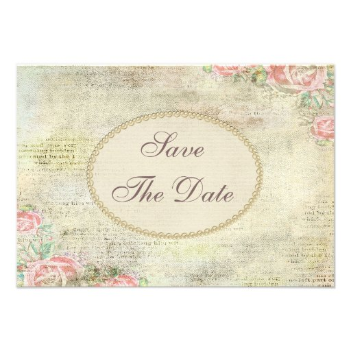 Shabby Chic Roses Baby Shower Save the Date Announcement
