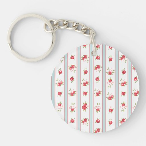 Shabby Chic Roses Floral Vintage Acrylic Key Chain