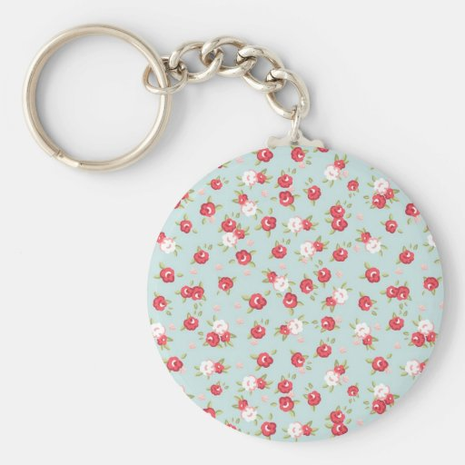 Shabby Chic Roses Floral Vintage Keychains