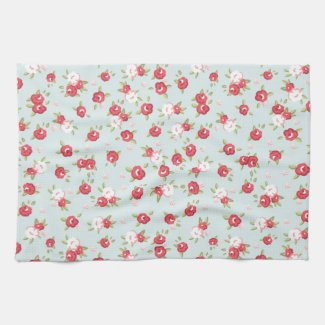 Shabby Chic Roses Floral Vintage Tea Towel