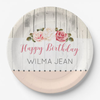 Shabby Chic Roses Rustic Wood Custom Birthday Paper Plate