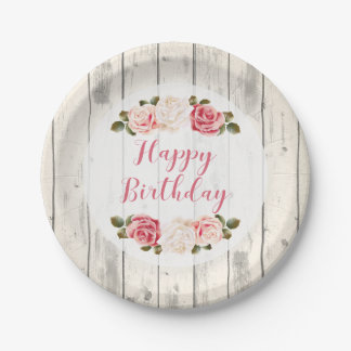 Shabby Chic Roses Rustic Wood Happy Birthday 7 Inch Paper Plate