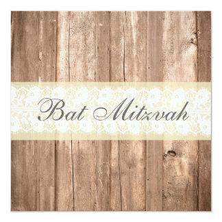 Shabby Chic Rustic Cream Bat Mitzvah Party Card