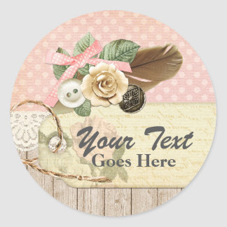 Shabby Chic Rustic Wood, Vintage Lace & Feather Classic Round Sticker
