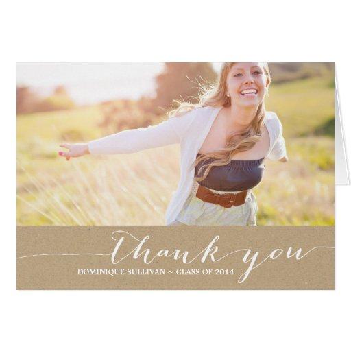 Shabby Chic Script Photo Graduation Thank You Card