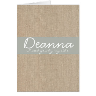 Shabby Chic Silver Sand Burlap Bridesmaid Request Greeting Card