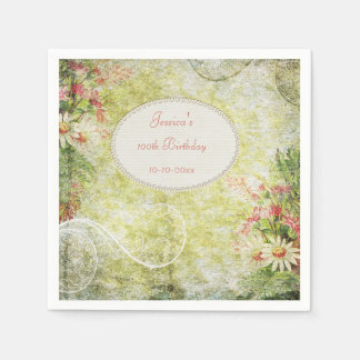 Shabby Chic Sweet 100th Birthday & Wildflowers Disposable Napkin