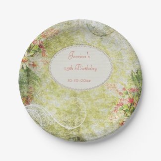 Shabby Chic Sweet 25th Birthday & Wildflowers 7 Inch Paper Plate