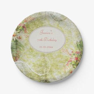 Shabby Chic Sweet 70th Birthday & Wildflowers 7 Inch Paper Plate