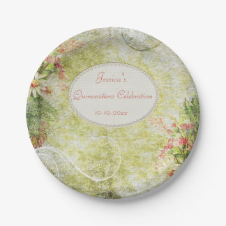 Shabby Chic Sweet Quinceañera & Wildflowers 7 Inch Paper Plate