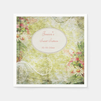 Shabby Chic Sweet Sweet 16 & Wildflowers Disposable Serviettes