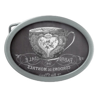 shabby chic tea cup vintage french Chalkboard Belt Buckle