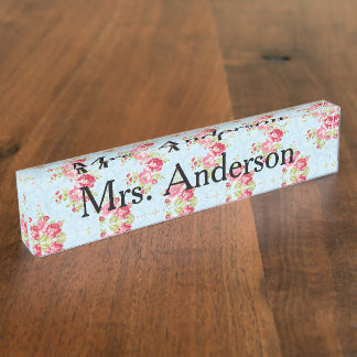 Shabby Chic Teacher Nameplate for desk