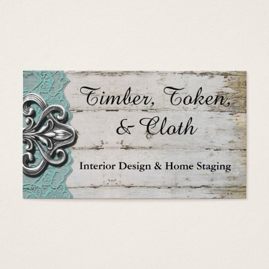 Shabby Chic Turquoise & White Wood Business Cards