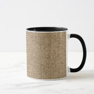 Shabby Chic Tweed Rustic Burlap Fabric Texture Mug