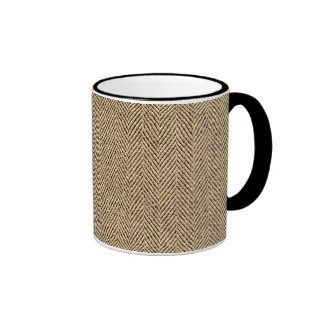 Shabby Chic Tweed Rustic Burlap Fabric Texture Ringer Mug