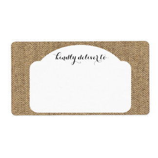 Shabby Chic Tweed Rustic Burlap Fabric Texture Shipping Label