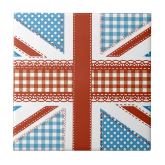 shabby chic, uk flag,patchwork,country,blue,red, small square tile