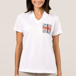 shabby chic, uk flag,patchwork,country,blue,red, polo t-shirt
