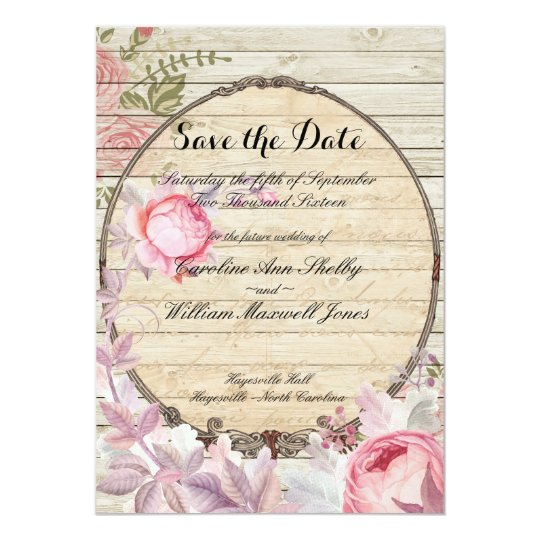 Shabby Chic Victorian Flower Save the Date Card