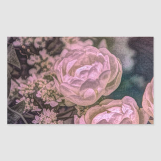 Shabby chic Victorian garden Bohemian pink Rose Rectangular Sticker