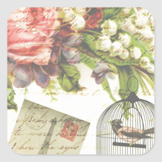 Shabby Chic vintage art Paris accessories and gift Square Sticker