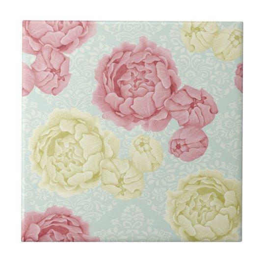 Shabby Chic Vintage Floral Ceramic Tile