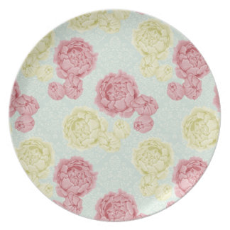Shabby Chic Vintage Floral Melamine Plate