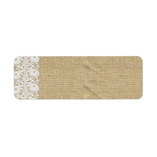 Shabby Chic Vintage Lace & Rustic Natural Burlap Return Address Label
