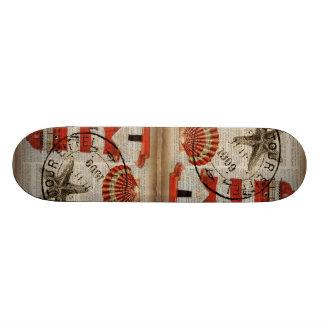 shabby chic vintage lighthouse sea shells custom skate board