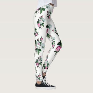 Shabby Chic Vintage Pink and White Roses Pattern Leggings