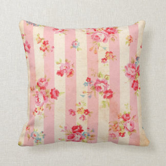 Shabby Chic Vintage Pink Stripes and Roses Cushion