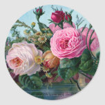 Shabby Chic Vintage Pink & White Roses Floral Round Sticker