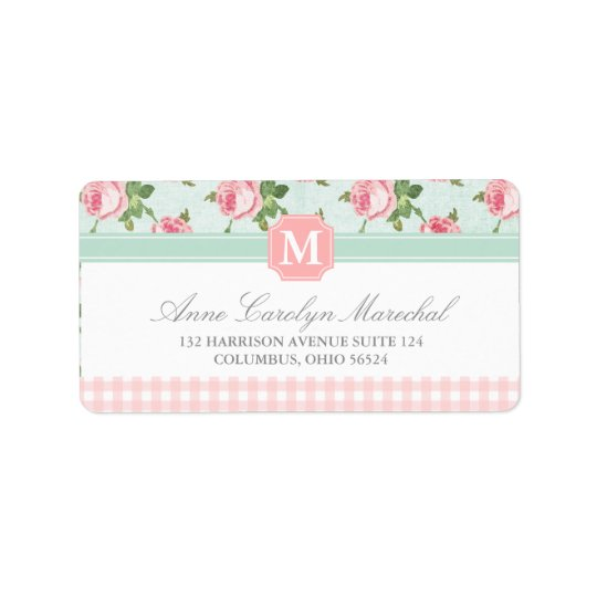 Shabby & Chic Vintage Rose Floral Personalised Address